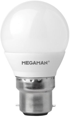 Megaman 5W B22 Dimmable Opal Golfball Bulb Cool White (45W Equivalent)