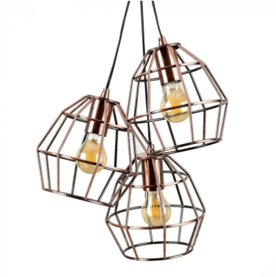 MiniSun Angus 3-Way Brushed Copper Basket Ceiling Electric Pendant