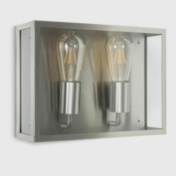 MiniSun Aquirre IP44 Stainless Steel Twin Outdoor Box Wall Light