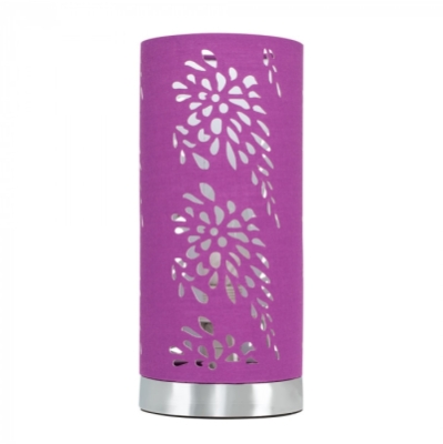 MiniSun Brushed Chrome Touch Table Lamp With Purple Cut Out Fabric Shade