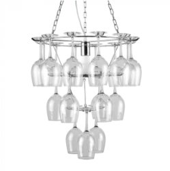 MiniSun Camargue Chrome Circular Wine Glass Designer Ceiling Light