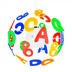 MiniSun Childrens Letters 3D Pendant Shade Multi Coloured