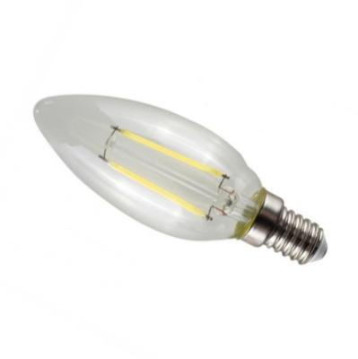 MiniSun Daylight Dimmable E14 4W LED Filament Clear Candle Bulb