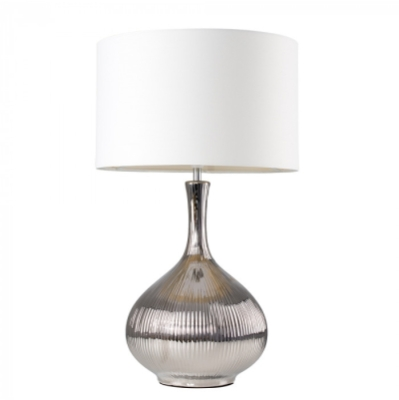 MiniSun Iconic Eleanor XL Ribbed Silver Table Lamp with Shade