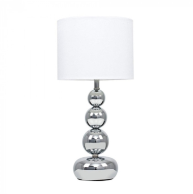 Minisun Marissa Chrome Stacked Bubble Touch Table Lamp With White Shade
