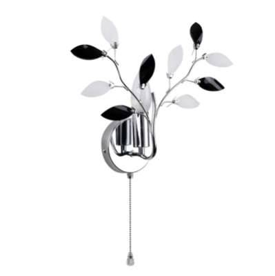 MiniSun Medusa Chrome Black Single Wall Light with Frosted Leaves