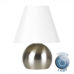 MiniSun Mojo Satin Nickel & Cream Touch Table Lamp