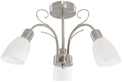 MiniSun Newlyn Satin Nickel 3 Way Ceiling Light White Glass