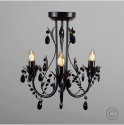 MiniSun Odelia 3 Way Ceiling Fitting Gloss Black With Black Droplets