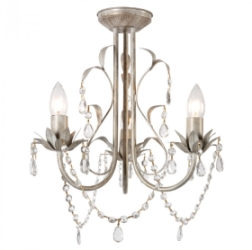 MiniSun Odelia 3 Way Ceiling Fitting Gold on Cream Clear Droplets