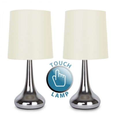 MiniSun Pair Of Teardrop Touch Table Lamp Chrome / Cream Shade