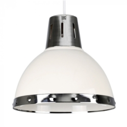 MiniSun Portishead Cream Domed NE Pendant With Polished Chrome Bandi