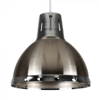 MiniSun Portishead Satin Nickel Domed NE Pendant With Polished Chrome Bandi