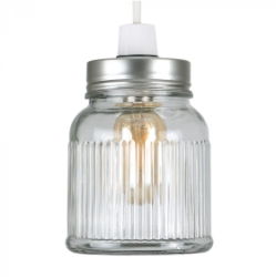 MiniSun Ribbed Glass Jar NE Pendant with Satin Nickel Finish