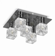 MiniSun Ritz 5 Way Ceiling Fitting Ice Cube Shades Black Chrome
