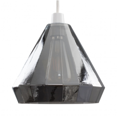MiniSun Shea Ribbed Cone Smoked Glass NE Pendant Shade