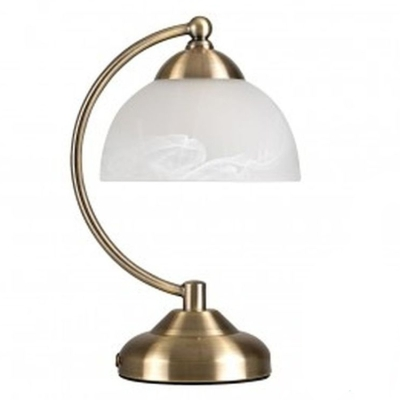 MiniSun Stamford Antique Brass Crescent Touch Table Lamp with Glass Shade