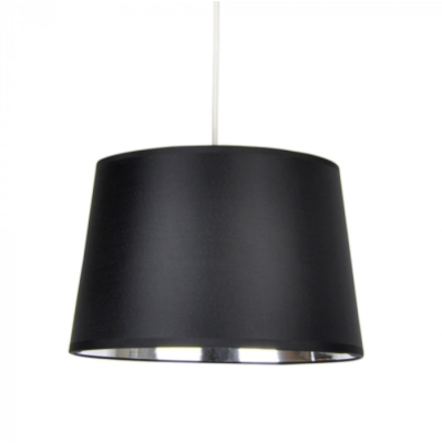 MiniSun Tapered Non Electric Pendant Shade Black With Chrome Metallic Inner