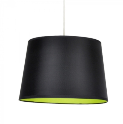 MiniSun Tapered Non Electric Pendant Shade Black With Green Fabric Inner