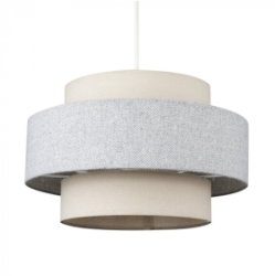 MiniSun Weaver Cream & Grey Herringbone NE Pendant Shade