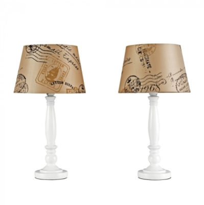 Minisun Pair of Shabby n Chic Table lamps Mocha / Brown Stamp Shades