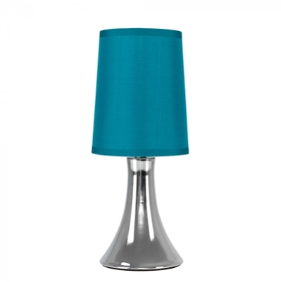 Minisun Trumpet Touch Table Lamp Chrome with a Teal shade