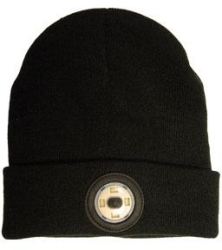NightSearcher Black Beanie Head Torch with USB Rechargeable LED Light