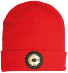 NightSearcher Red Beanie Head Torch with USB Rechargeable LED Light