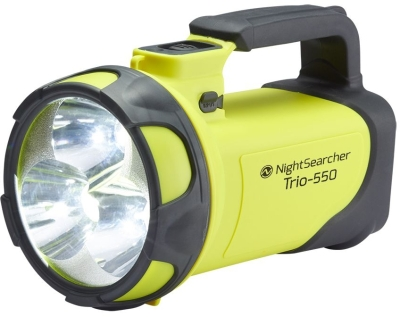 NightSearcher Trio 550 Rechargeable LED Searchlight in Yellow and Grey