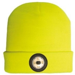 NightSearcher Yellow Beanie Head Torch with USB Rechargeable LED Light