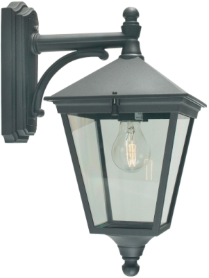 Norlys Outdoor IP54 E27 Turin 1 Light Down Wall Lantern in Black