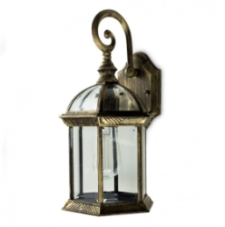 Outdoor IP23 Headingly Wall Lantern Black/Gold/Clear