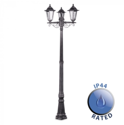 Outdoor IP44 1.95m 3 Way Plastic Lamp Post Black/Silver