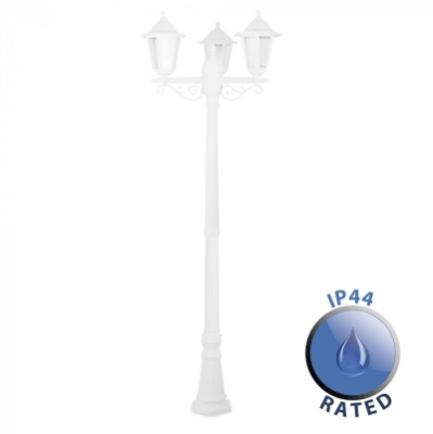 Outdoor IP44 1.95m 3 Way Plastic Lamp Post White/Clear