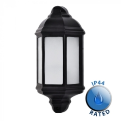 Outdoor IP44 Banbury Wall Flush Mounted Lantern Black/Frosted