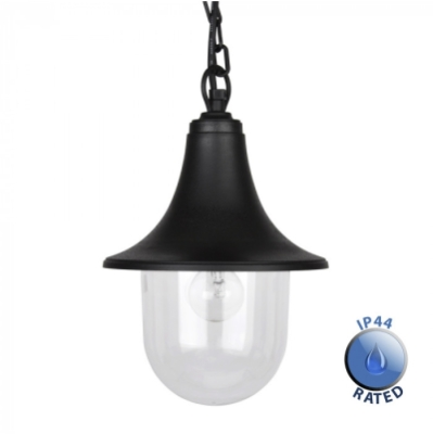 Outdoor IP44 Bramhall Hanging Lantern Black/Clear