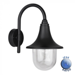 Outdoor IP44 Bramhall Swan Neck Lantern Black/Clear