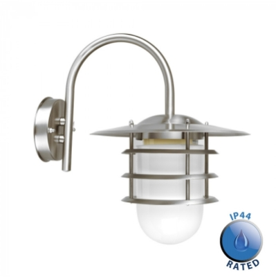 Outdoor IP44 Cotswold Swan Neck Wall Lantern Silver