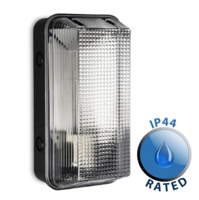 Outdoor IP44 Floyd Vandal Resistant Bulkhead / Site Light Black/Clear