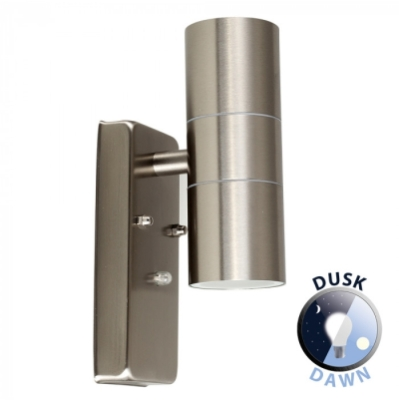 Outdoor IP44 GU10 Dusk Till Dawn Up/Down Wall Light Stainless Steel