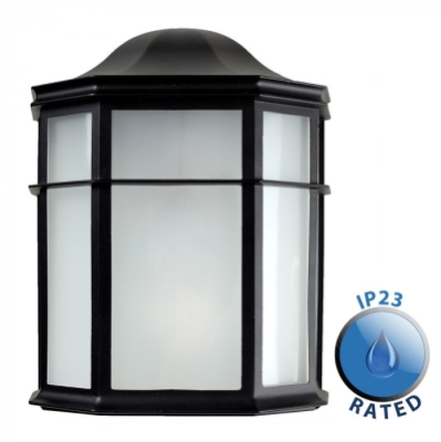 Outdoor IP44 Half Lantern Bulk Head Black/Frosted