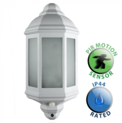 Outdoor IP44 Kayleigh Wall PIR Lantern White/Frosted