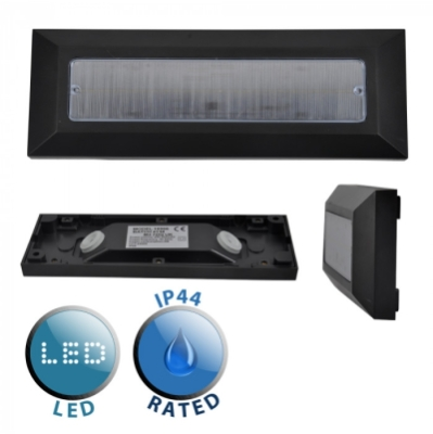 Outdoor IP44 Lincoln LED Flush Mounted Brick Light Black/Frosted