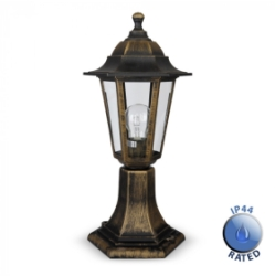 Outdoor IP44 Post Top Lantern Light Black/Gold/Clear