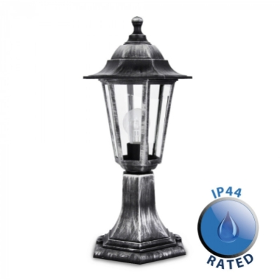Outdoor IP44 Post Top Lantern Light Black/Silver/Clear