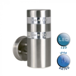 Outdoor IP44 Telford LED Wall Light Silver