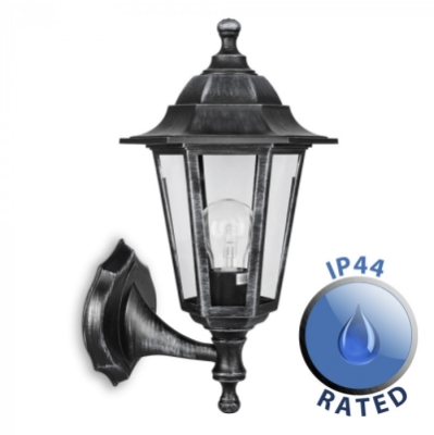 Outdoor IP44 Up/Down Wall Lantern Black/Silver/Clear