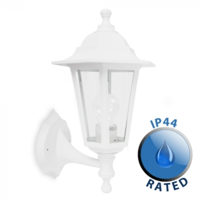 Outdoor IP44 Up/Down Wall Lantern White/Clear