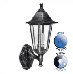 Outdoor IP44 Wall Lantern with Dusk to Dawn Sensor Black/Silver/Clear