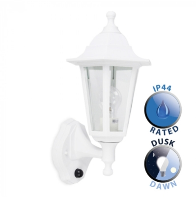 Outdoor IP44 Wall Lantern with Dusk to Dawn Sensor White/Clear